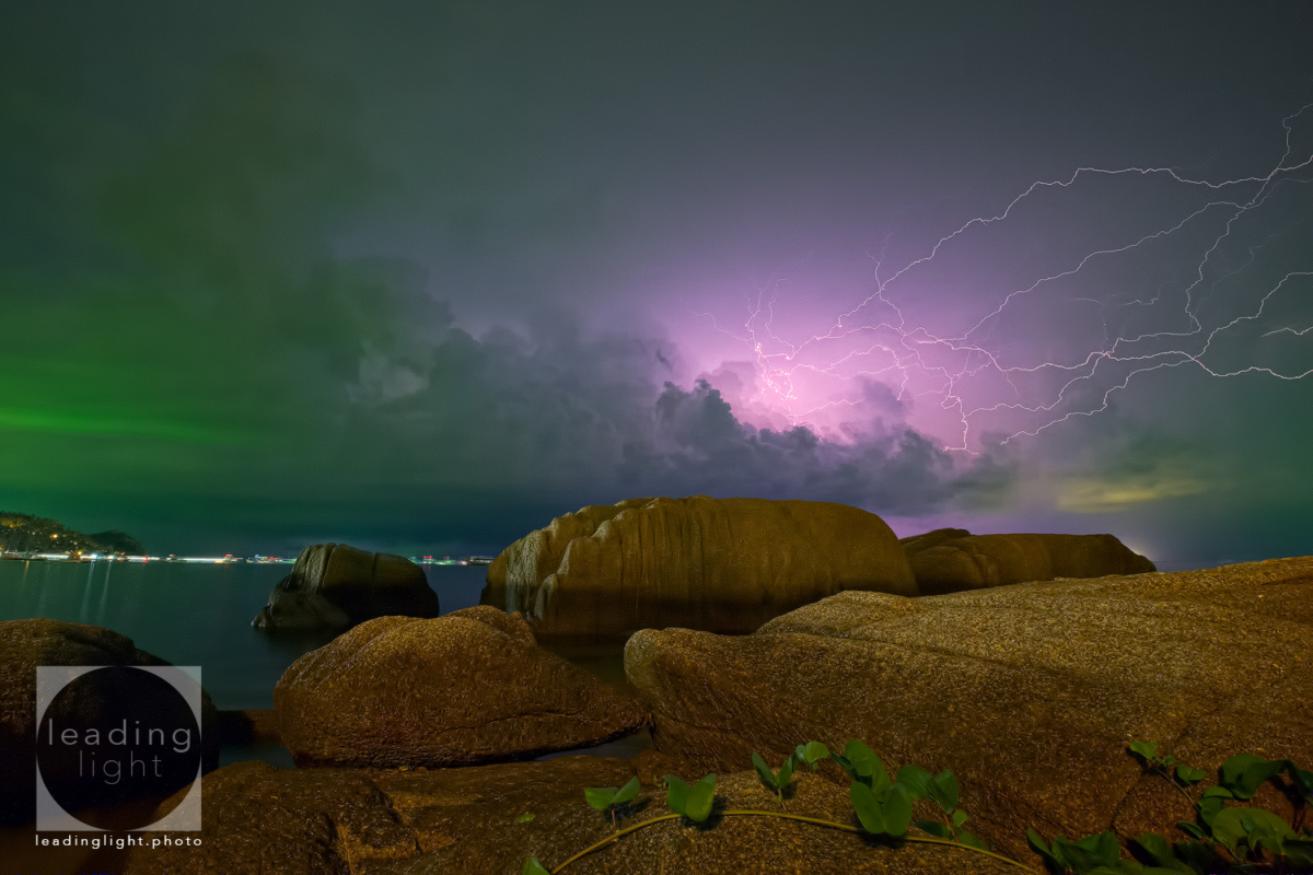 Lightning approaches Koh Tao, Thailand.
