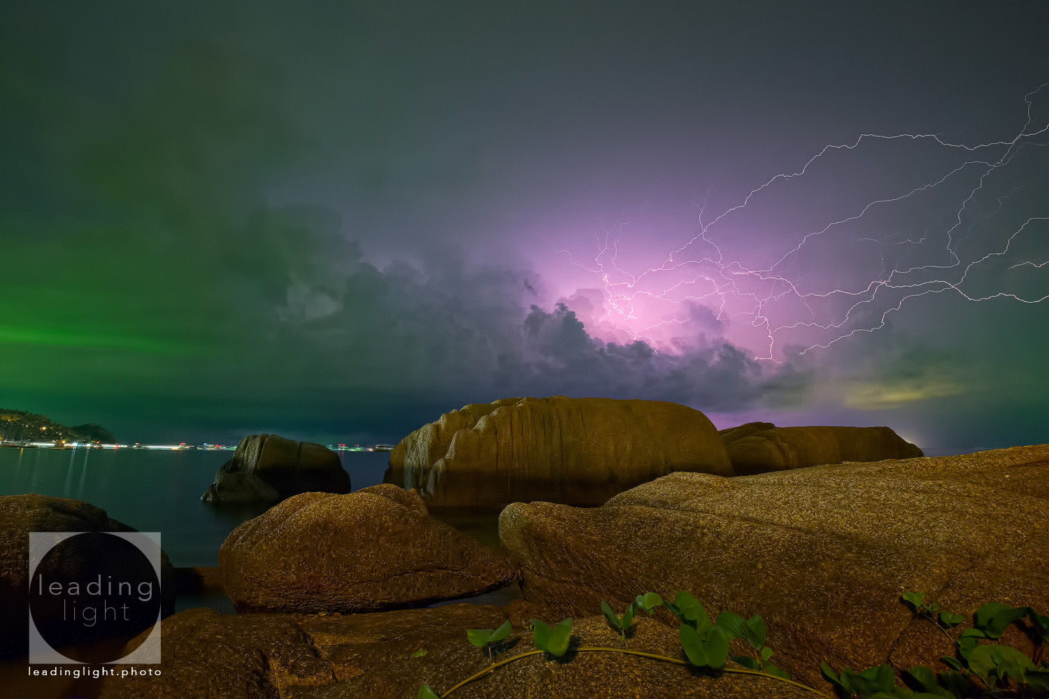 Lightning approaches Koh Tao, Thailand.