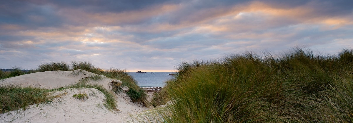 Panoramic photo of sand dunes at Grandes Rocques, Guernsey
